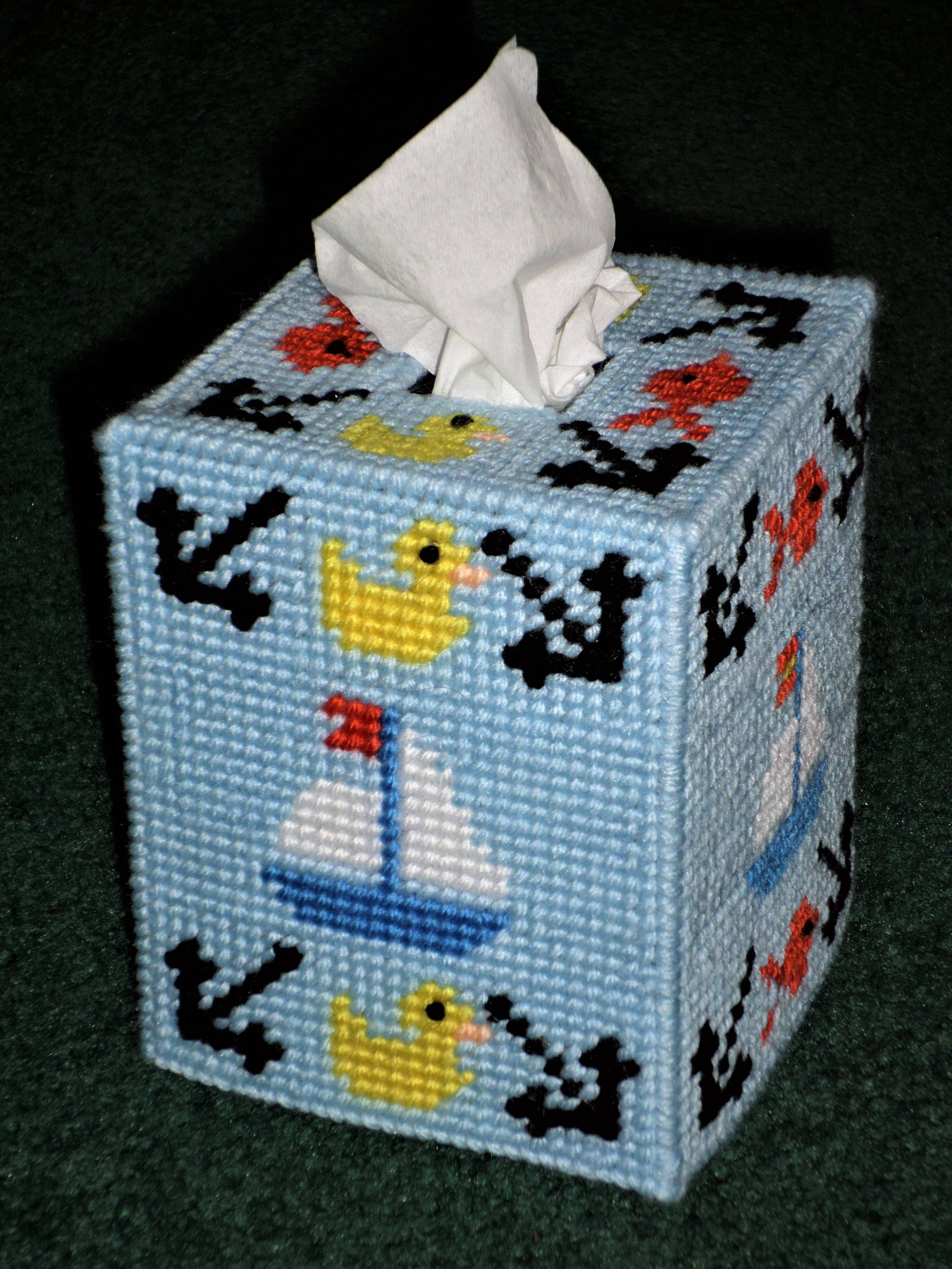 Plastic Canvas Tissue Box Cover Sailboat Blue Baby S Room Nautical By Sugarbearhair