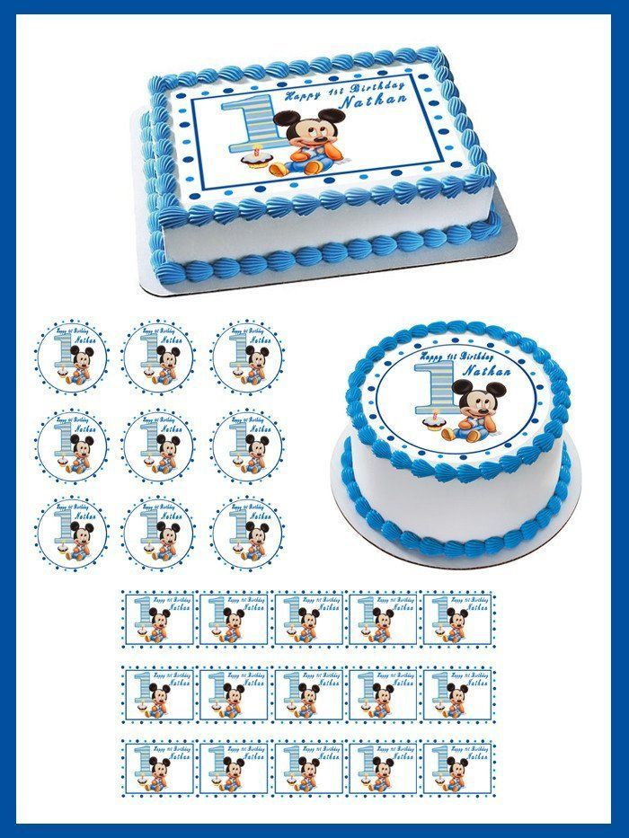Baby Mickey Mouse 1st Birthday Edible Birthday Cake Topper Or
