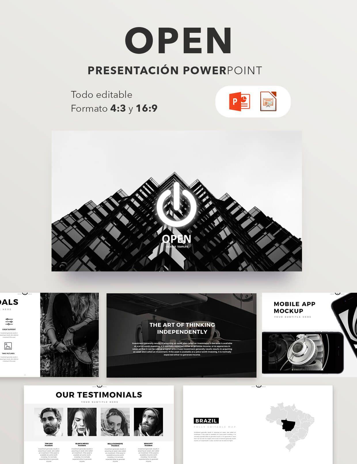 plantilla premium presentación empresas open vi pinterest app
