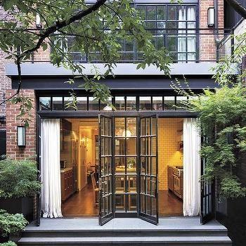 Folding Glass Patio Doors Transitional Home Exterior House
