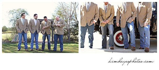 Groom and Grooms men in tan sport coats instead of a tux!