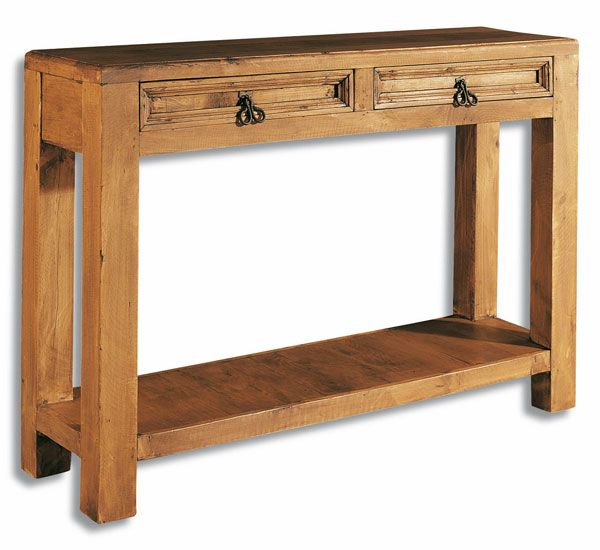 Recibidor de estilo r stico en madera maciza de pino con - Mueble recibidor rustico ...