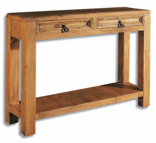 Recibidor de estilo rústico en madera maciza de pino con dos ...