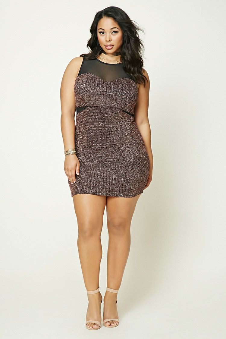 cf2ee294437 Forever 21+ - A knit bodycon dress featuring a metallic shimmer