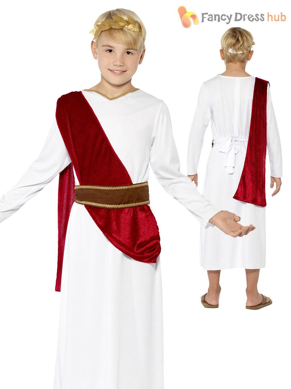 BOYS ROMAN EMPEROR FANCY DRESS COSTUME ROMAN KING GREEK WORLD WEEK BOOK DAY