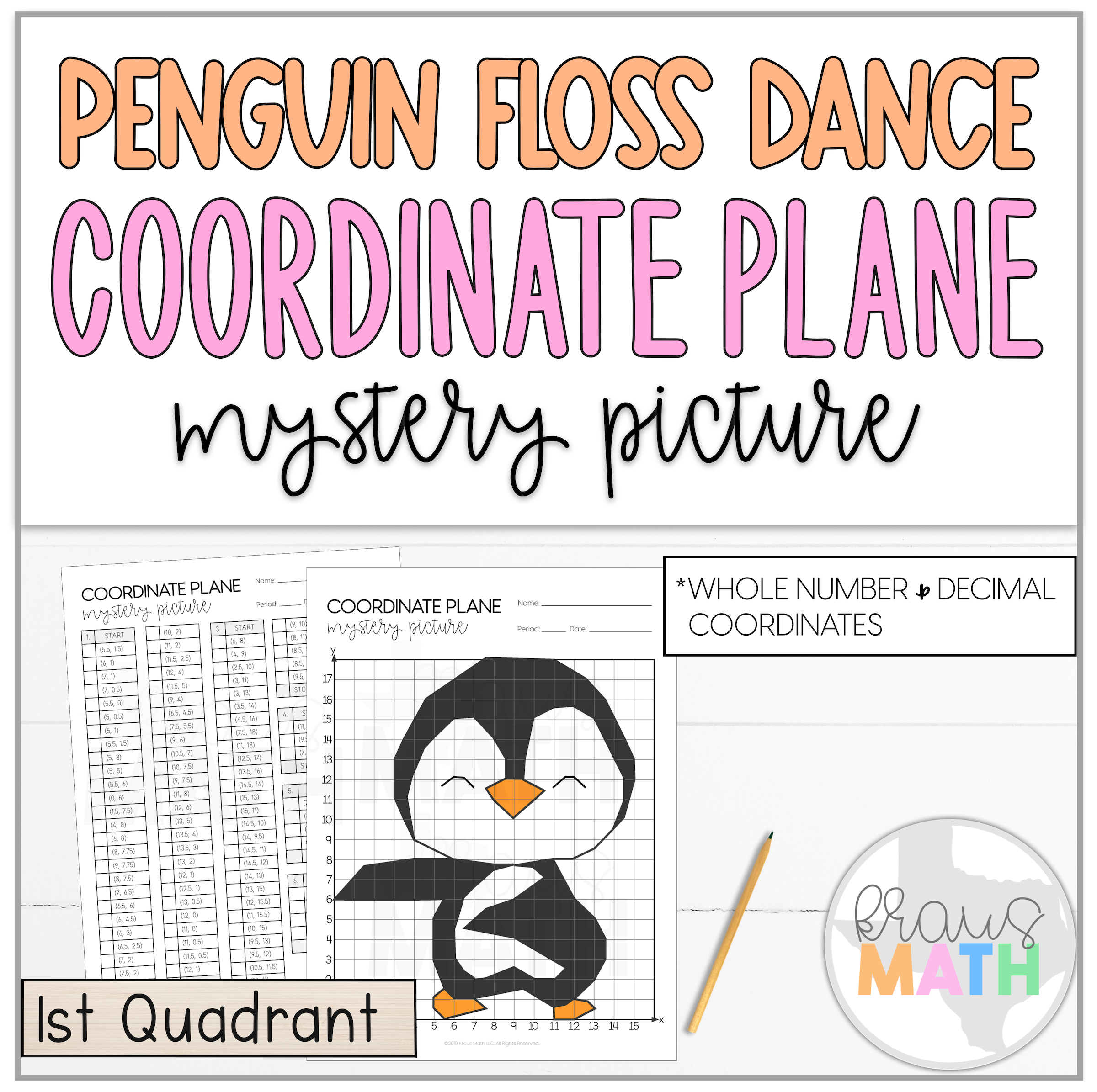 Baby Penguin Floss Dance Coordinate Plane Mystery Picture