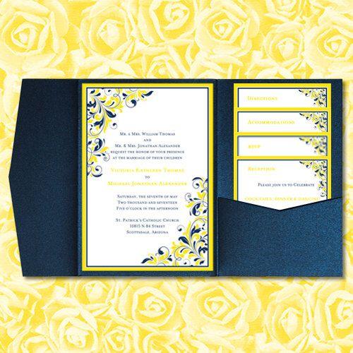 DIY Pocketfold Wedding Invitations  - invitations in word