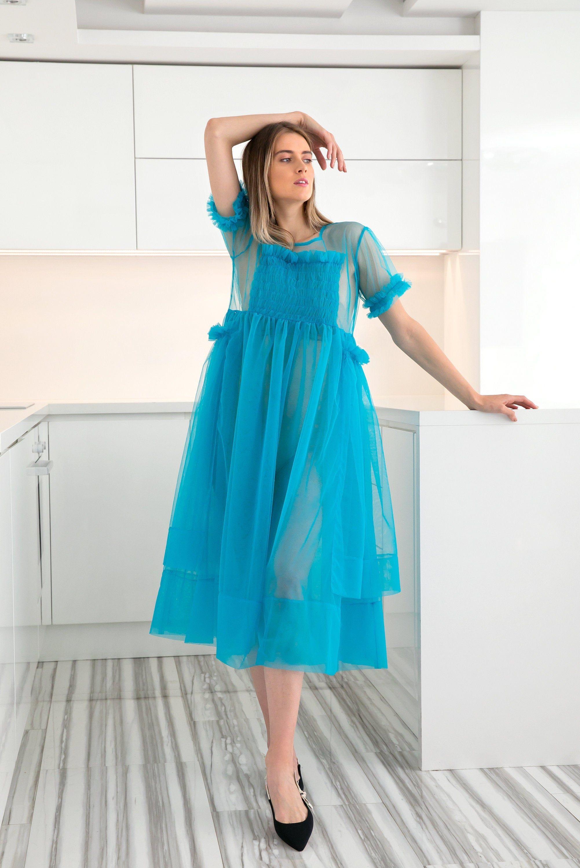 Blue Tulle Dress Villanelle Dress See Through Dress Etsy Blue Tulle Dress Blue Sheer Dress See Through Dress [ 3000 x 2003 Pixel ]