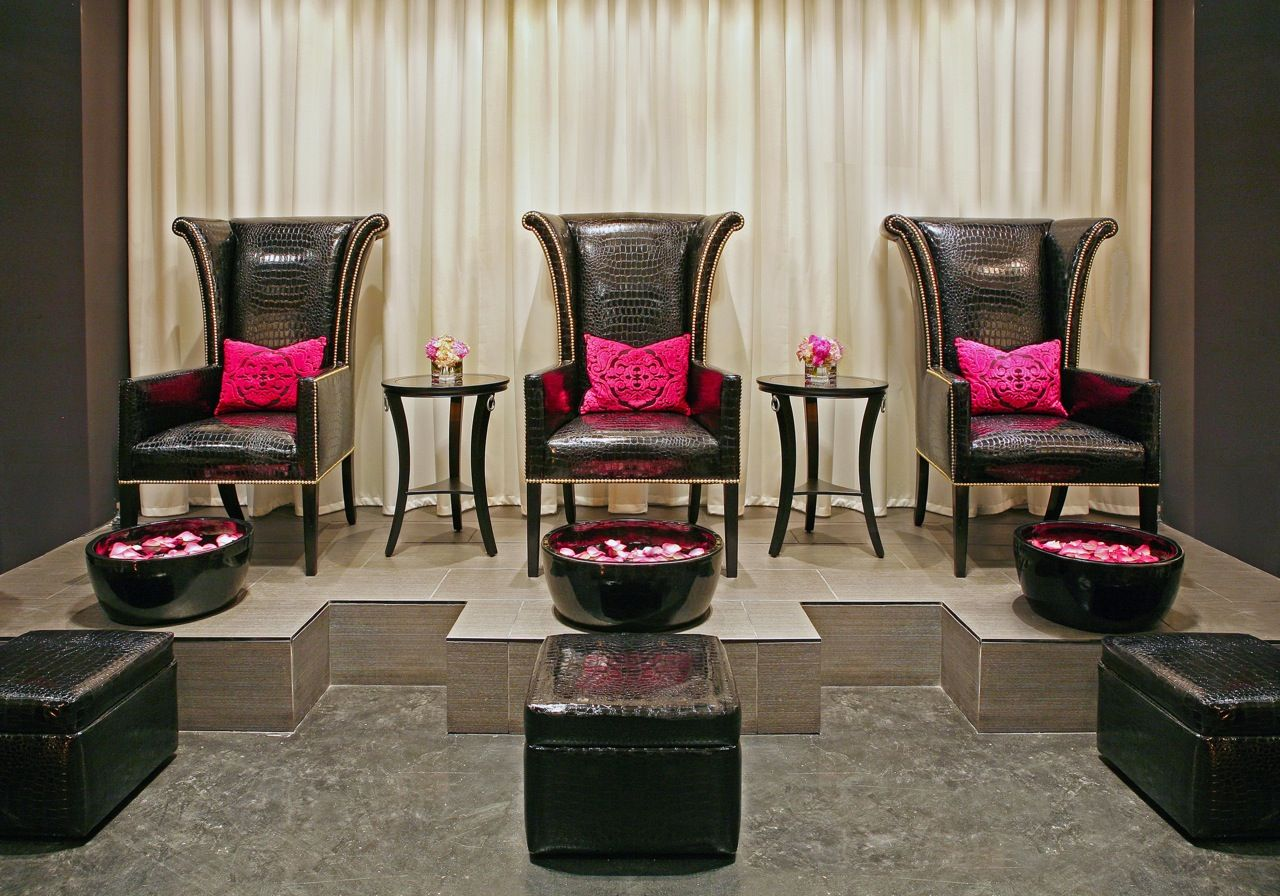 pink nail salon chairs motorized office chair luxury spa pedicure area polished lounge when