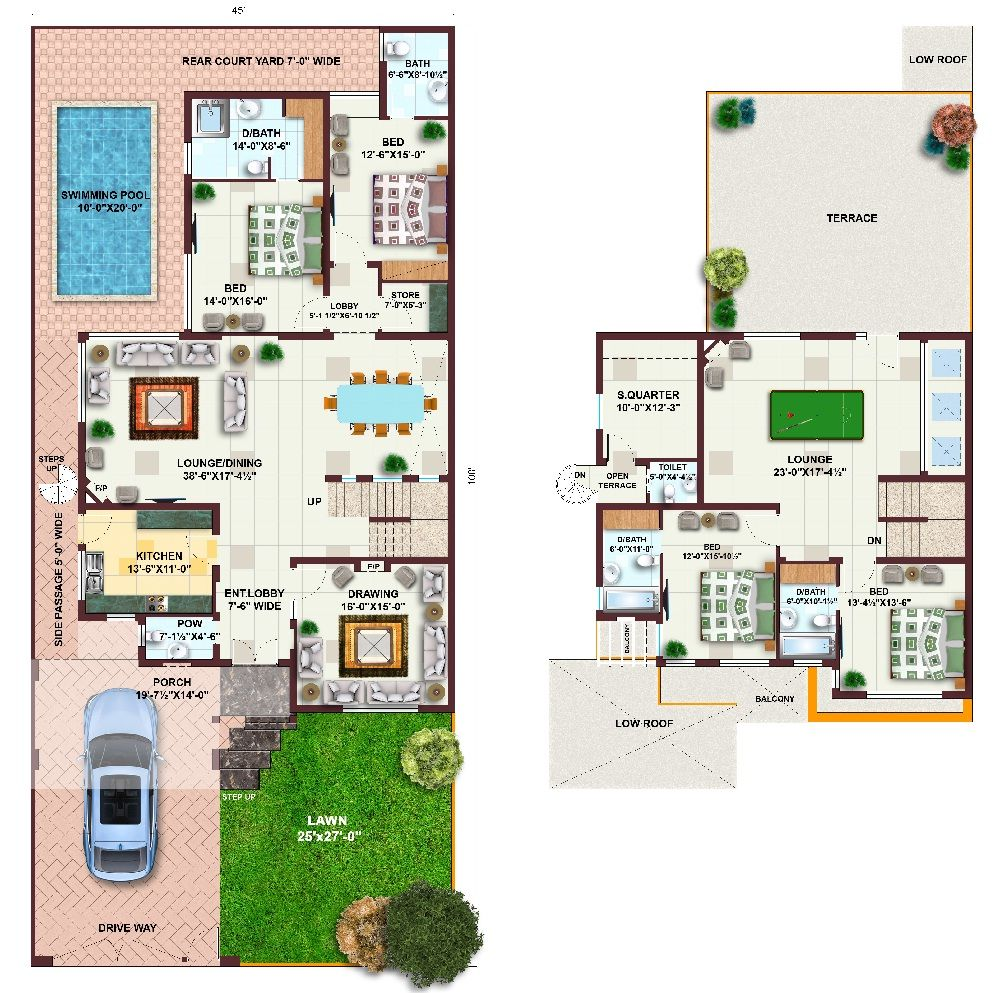 Pakistan 1 kanal house plans l 1000 for One kanal house plan
