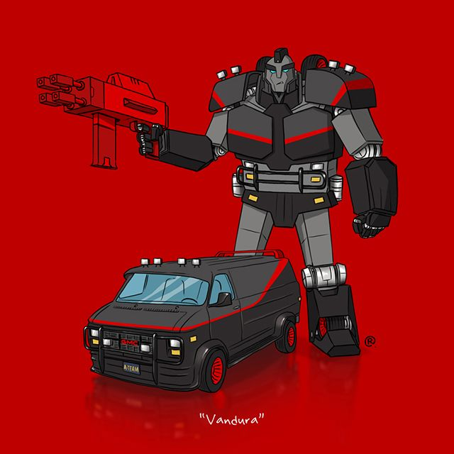 If They Could Transform, Illustrations of Famous Vehicles From Movies and TV Shows Imagined as Transformers by Darren Rawlings