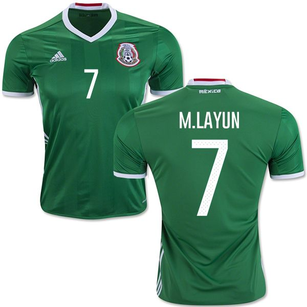 e2d3b514 #7 Mexico Miguel Layun Men's Jersey - Authentic Green Home Short Shirt 2016  Copa America Soccer Adidas