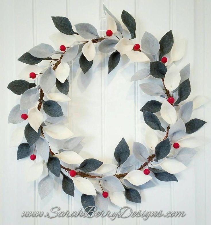 Photo of Winter felt leaf wreath – front door wreaths – handmade – Sarah Berry Designs – handmade – wool felt – housewarming gifts