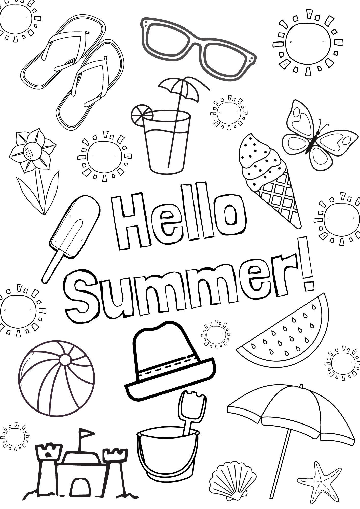 Free Summer Colouring Pages Printable Colouring Sheets Summer Fun Things To Do With Kids Printable Coloring Pages Free Coloring Pages Summer Coloring Sheets
