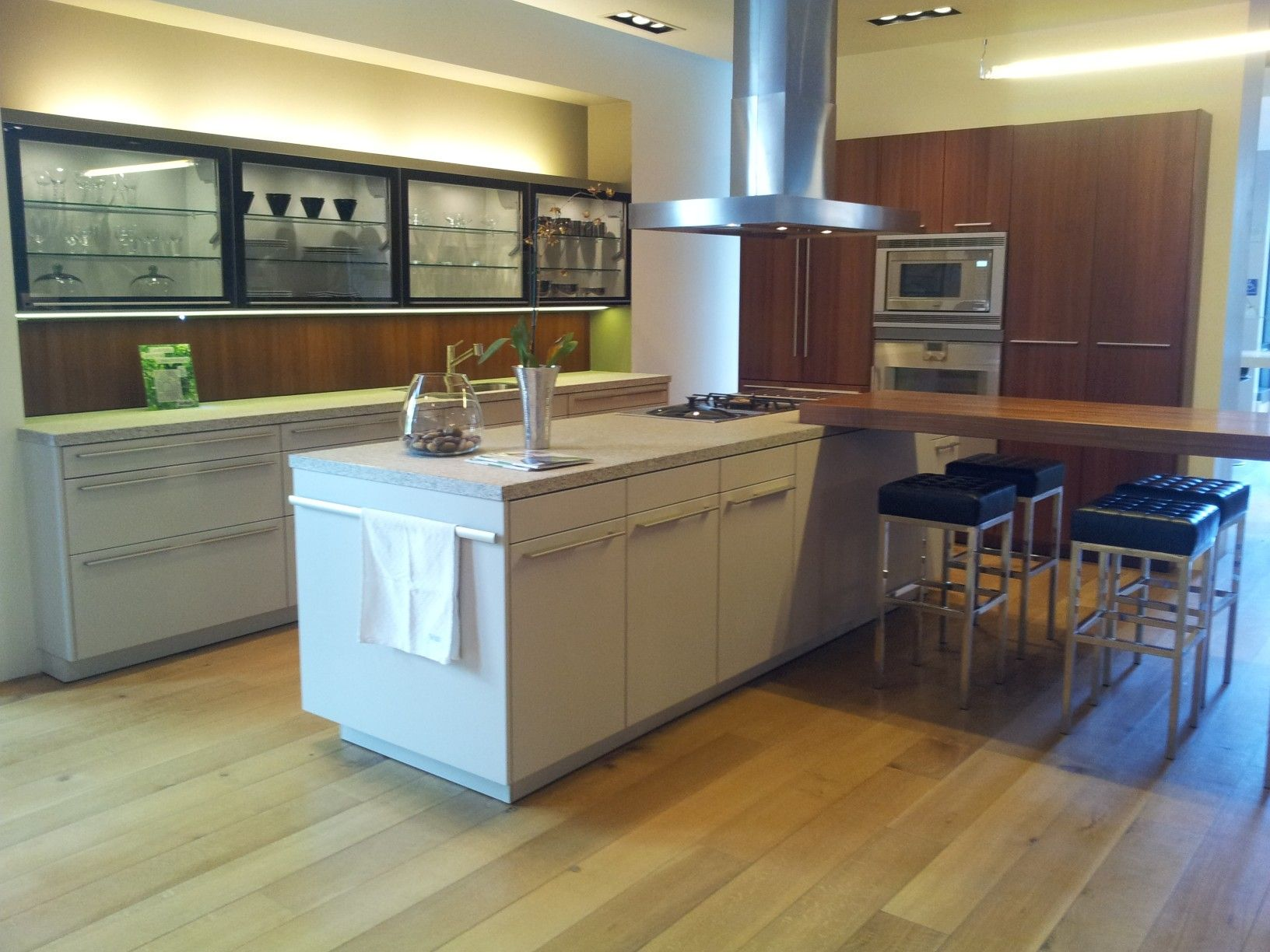 Modern Siematic Kitchen Cabinetry, Smoke Glass Wall Cabinets. Veneer Tall  Cabinets And Wood Plank