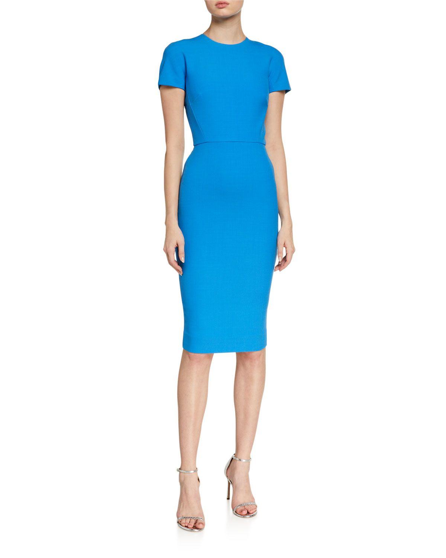 Victoria Beckham Crepe Short Sleeve T Shirt Dress In Blue Modesens Victoria Beckham Dress Victoria Beckham Outfits T Shirt Dress [ 1500 x 1200 Pixel ]