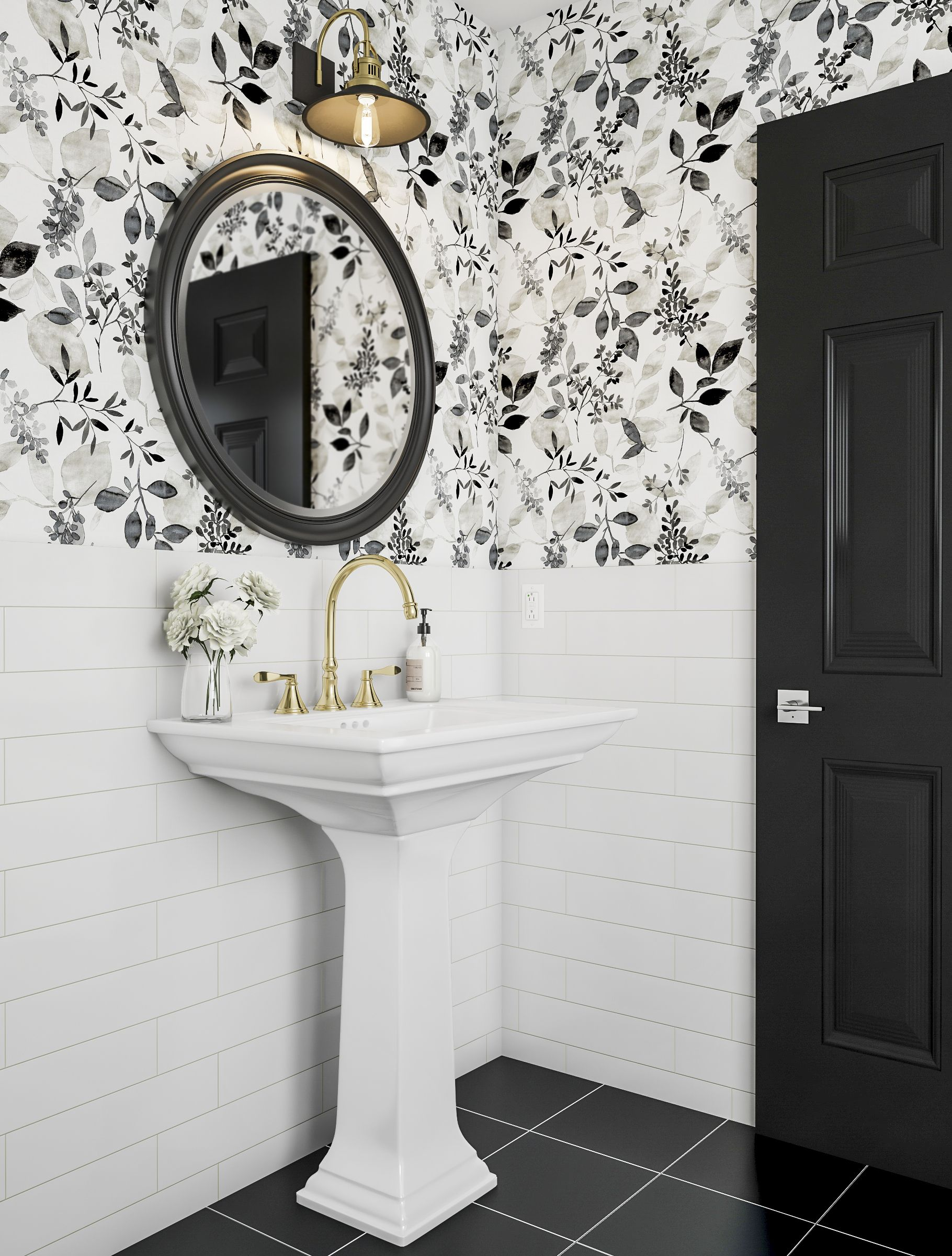 Modern Bathroom In Black And White Bathroom Wallpaper Trends Bathroom Design Black Bathroom Wallpaper