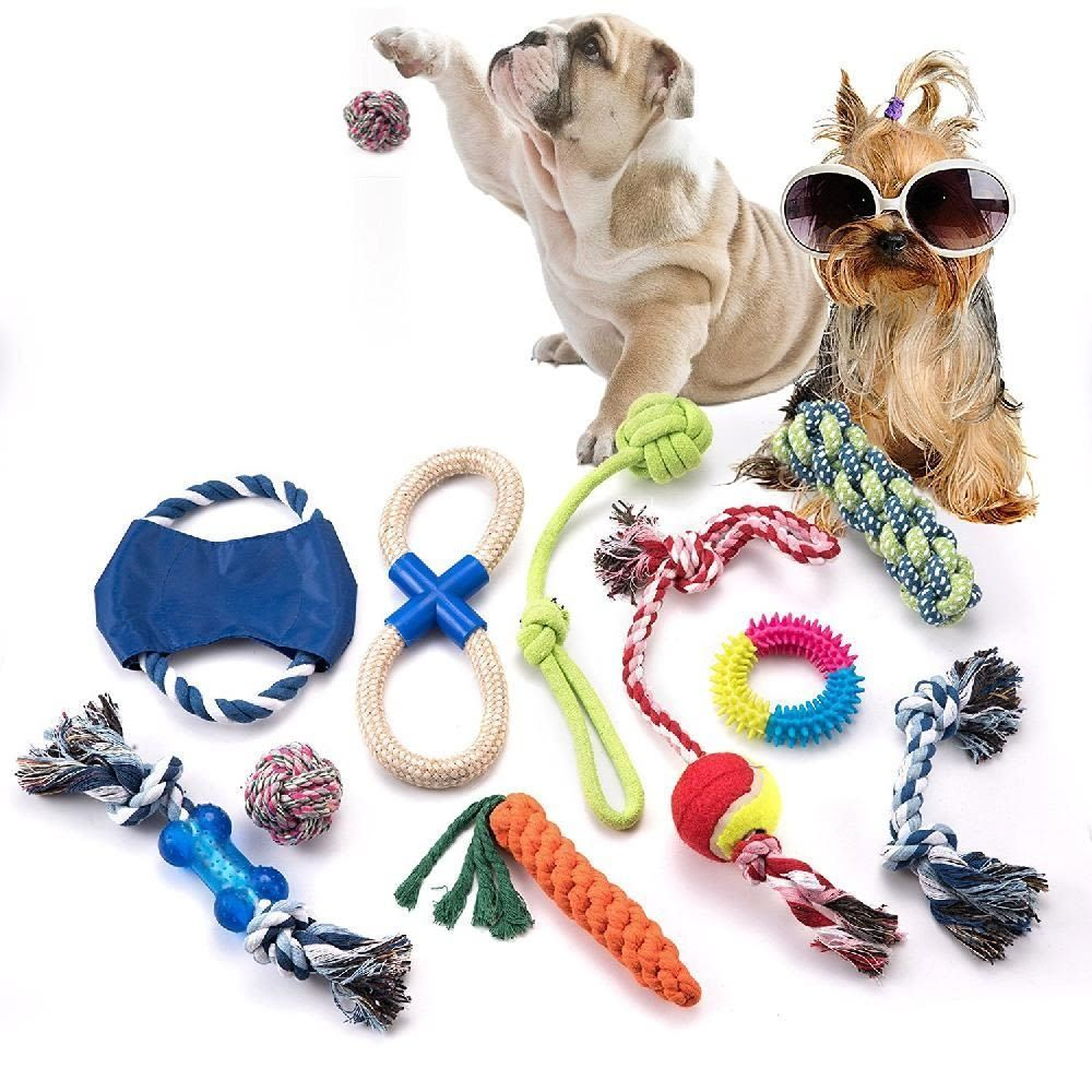 Dog Toy Puppy Small Medium 10 Pack Gift Set Lot Rope Chew Toys