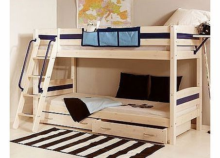 Thuka Trendy 24 Natural Pine Bunk Bed With Drawers Shown Here Optional Ladder Safety