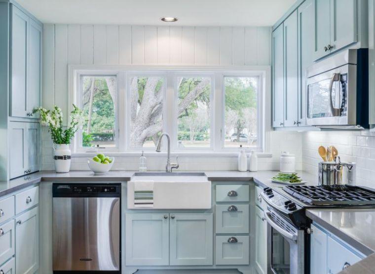 Cuisine Style Anglais Modele De Decoration Cottage Meuble Bleu Kitchen Remodel Cost Kitchen Remodel Layout Farmhouse Kitchen Remodel