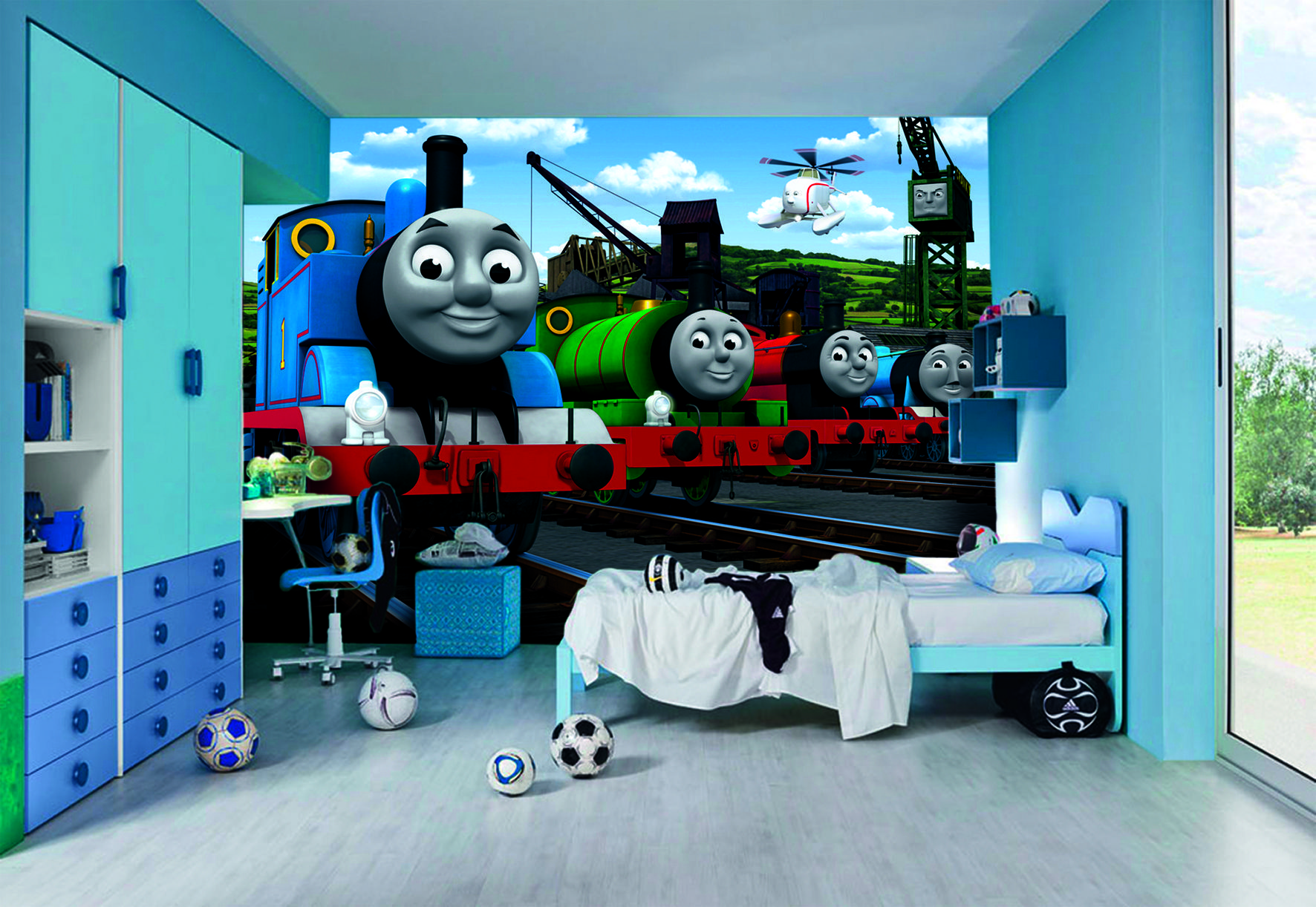 Thomas The Tank Engine Bedroom Wallpaper Mural 8ft X 6 6 Train