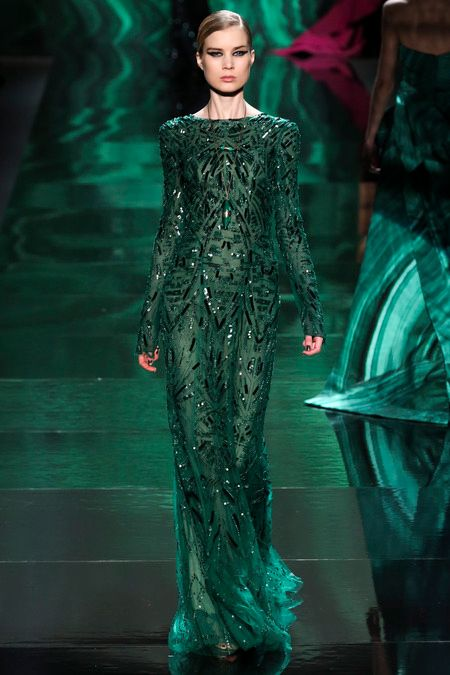 New York FW Monique Lhuillier Fall 2013 beautiful sequined green couture dress
