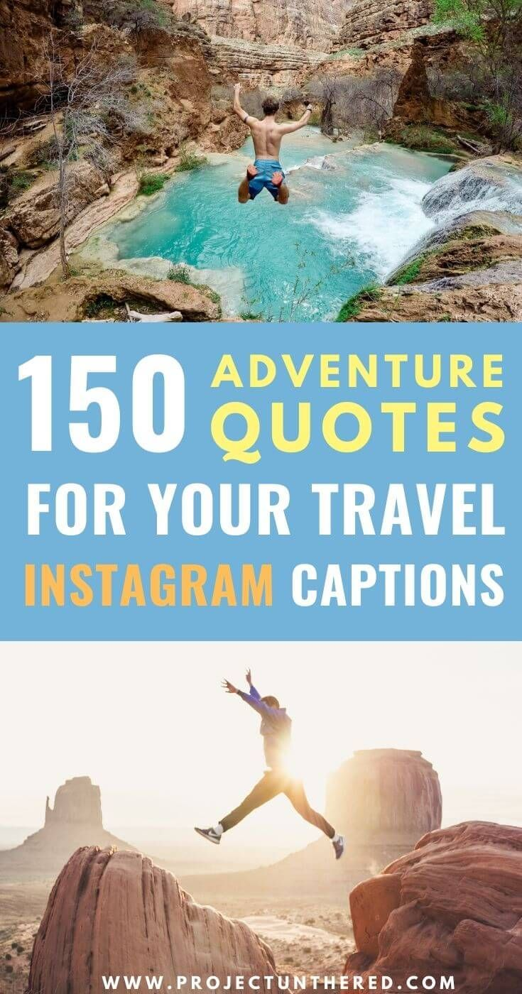 Whether you need a perfect instagram caption ideas for your travel photos or you're just looking for travel inspiration, this ENORMOUS list of adventure quotes is sure to rev up your wanderlust. Not only does it include 158 inspiring quotes, it also includes beautiful quote images you can use on social media or your travel blog. Click through to find your perfect travel quote! #travelquotes #inspirationalquotes #adventurequotes #travel #travelinspiration #adventure