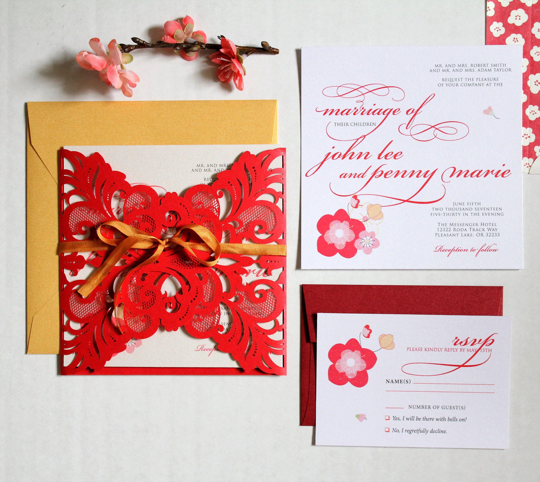 Elegant Spring Blossom Printed Wedding Invitation Suite, Floral ...