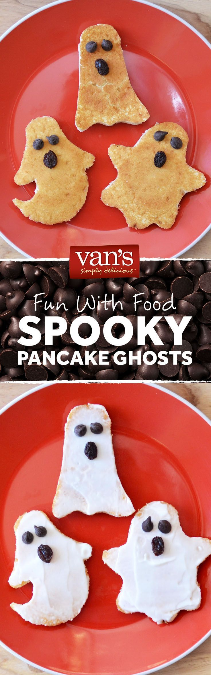 Add a little Greek yogurt to your pancakes for a spooktacular breakfast! Simply cut out your ghostly shapes and use chocolate chips and raisins and the mouth and eyes! #halloweenbreakfastforkids Add a little Greek yogurt to your pancakes for a spooktacular breakfast! Simply cut out your ghostly shapes and use chocolate chips and raisins and the mouth and eyes! #halloweenbreakfastforkids