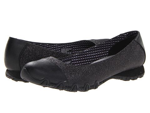 Black comfy flats with a touch of glitter. Find this Pin and more on Shoes  by amberrshafer. SKECHERS Bikers - Relaxed Fit - Glitzy ...