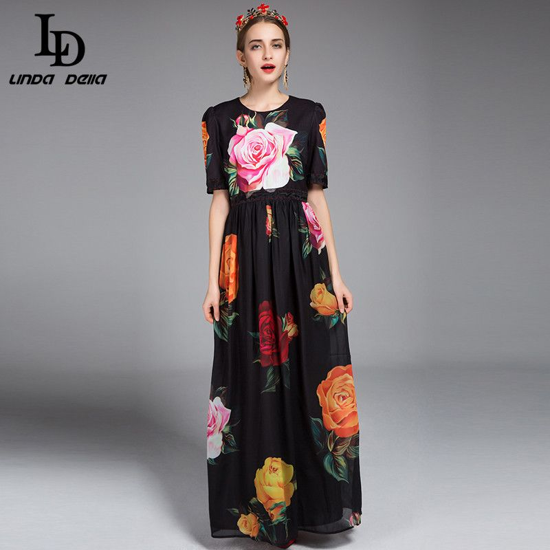 d558b70bd3ccf Spring Summer New Runway Designer Maxi Dress Women's Half Sleeve ...