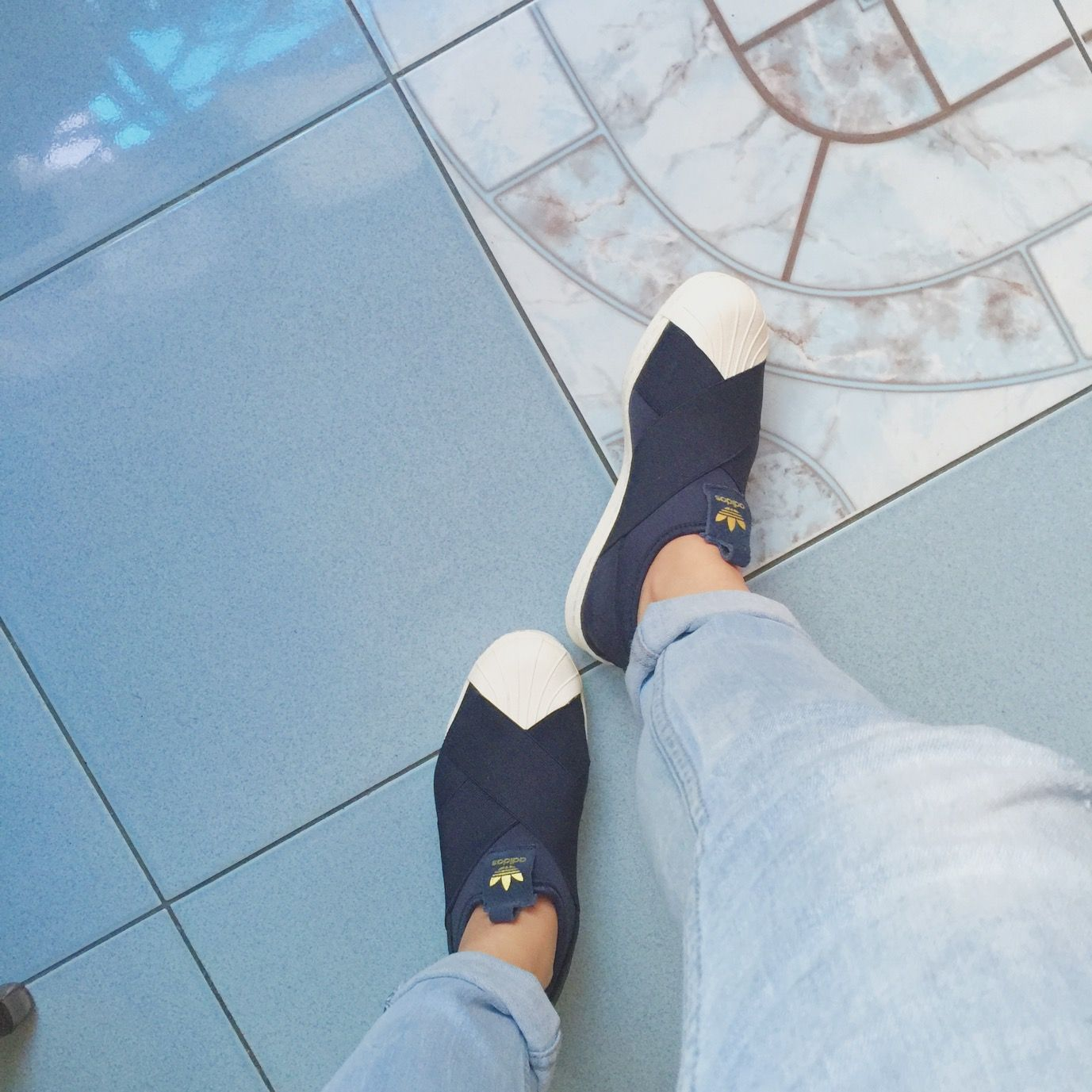 Adidas Superstar Slip-ons in Navy. MY FAVORITE. Super comfortable. I can