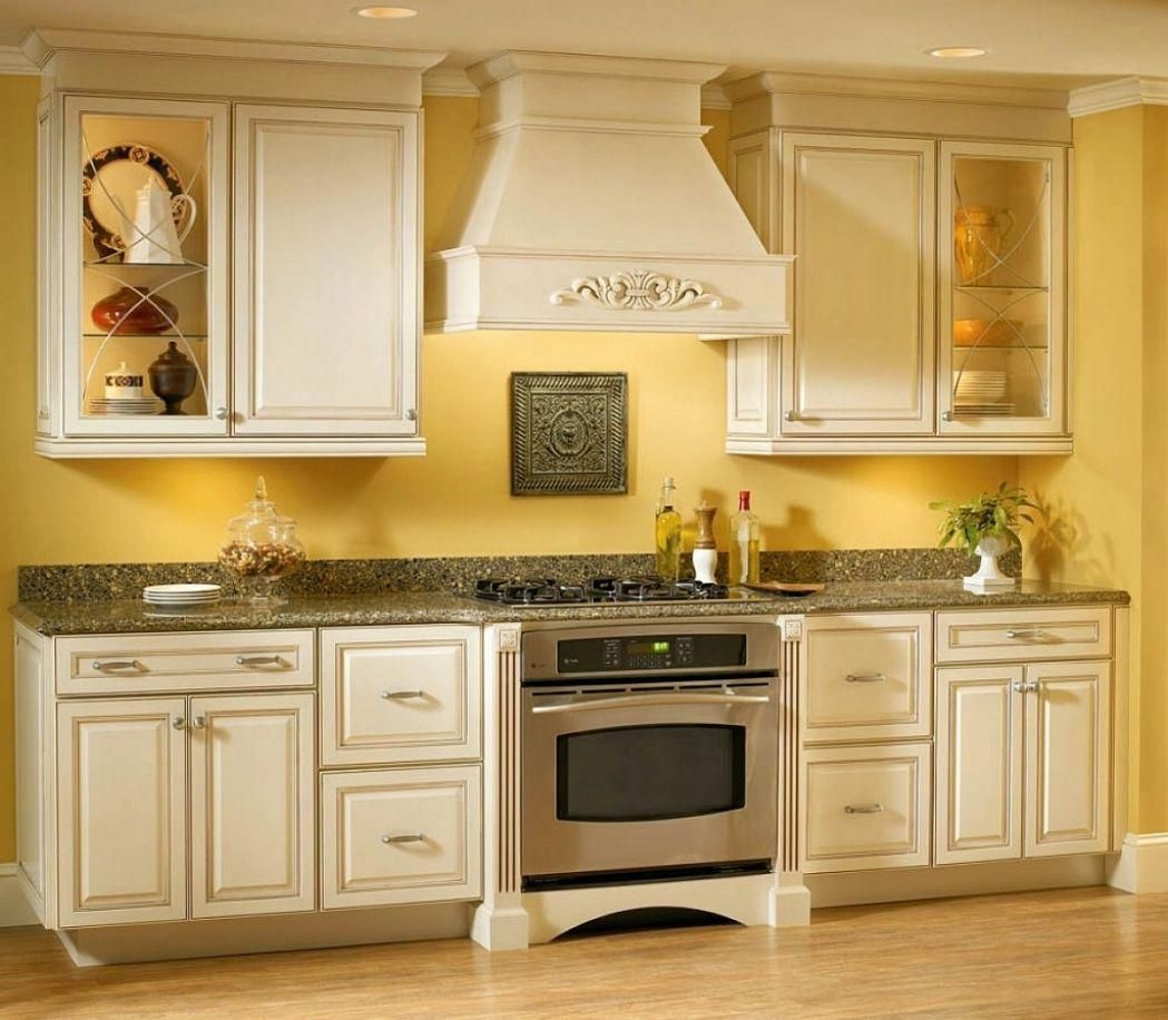 Pale Yellow Country Kitchen: Yellow Kitchen Walls With White Cabinets Outofhome Vintage