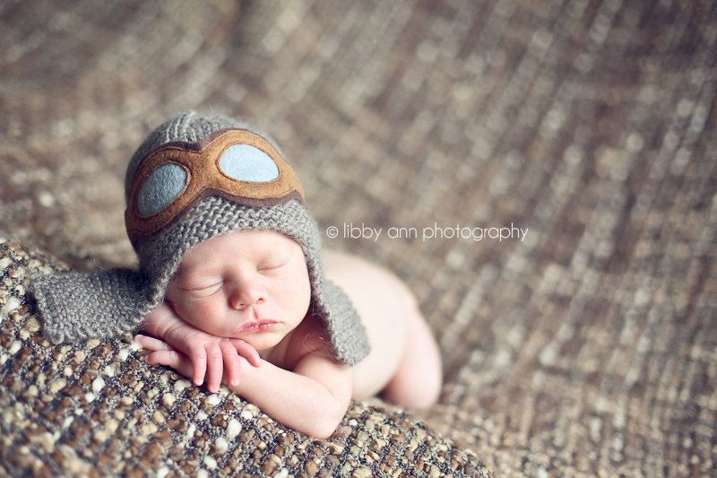 Newborn photo prop aviator hat knit baby hat aviator photo prop 27 00