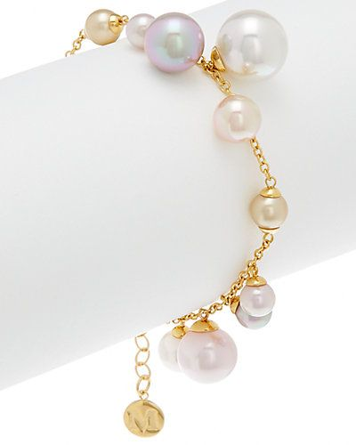 """Rue La La — Majorica 18K Over Silver Man-Made 4-10mm Pearl Bracelet. white, rose, champagne, nuage and salmon round pearls. Appox. 5.5""""x.75"""" with 1.5"""" extender"""