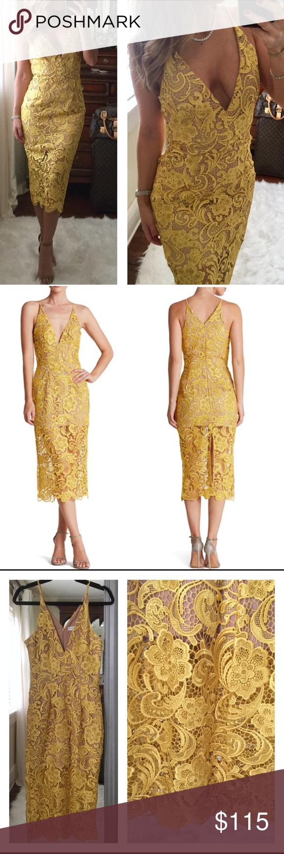 Dress The Population Yellow Lace Midi Dress M Dress The