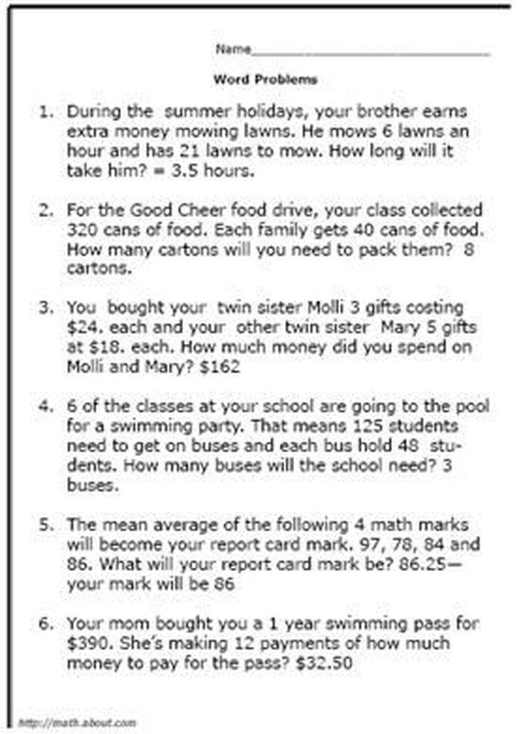 Test Your Fifth Grader With These Math Word Problem Worksheets For