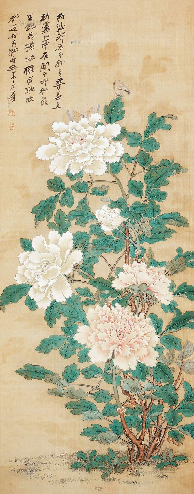 图片鉴赏 牡丹双蝶图 立轴 绢本 博宝艺术品拍卖网 korean art chinese art japanese art