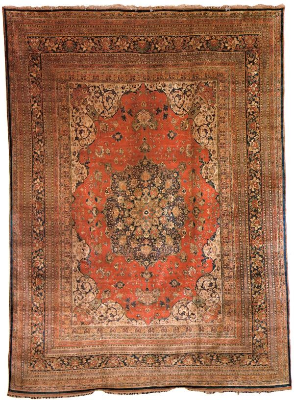 A Fantastic Fine Silk Hand Knotted Carpet From Tabriz
