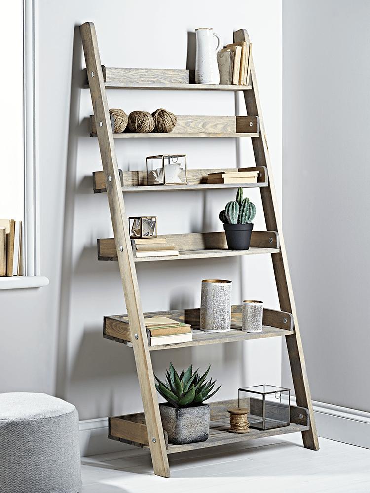 rustic wooden ladder shelf wide in 2019 decor ideas wooden rh pinterest com