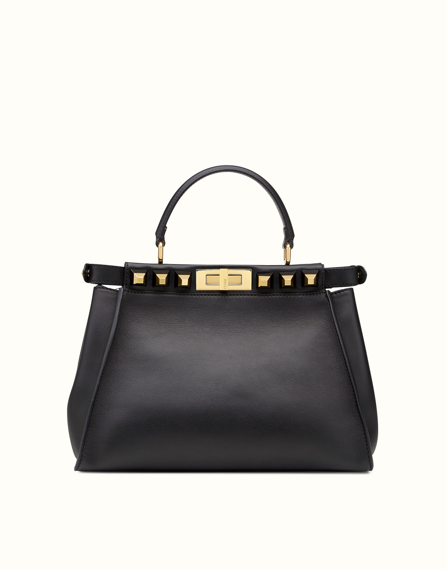 Fendi Kaboo Regular Gold Edition Black Leather Handbag With Studs