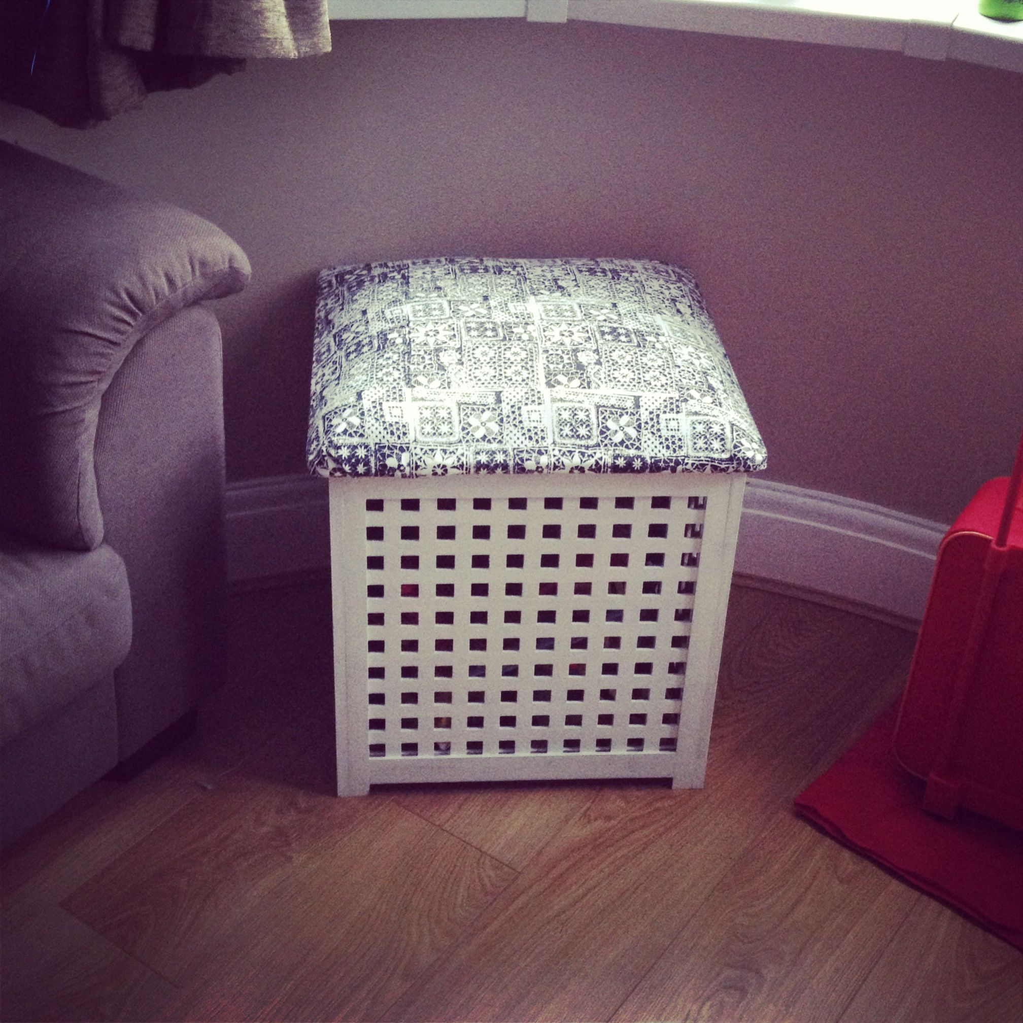 Ikea Hack Of My Hol Cupboard Hand Printed The Fabric Padded The Lid And Covered For A Storage Box Whi Ikea Side Table Wood Console Table Ikea Storage Boxes [ 2016 x 2016 Pixel ]