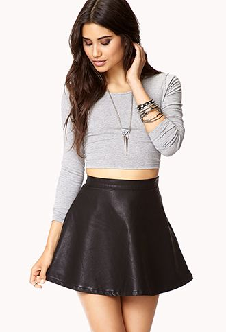 e97b0375c2 Forever 21 Faux Leather Skirt, Leather Skater Skirts, Cute Fashion, Fashion  Outfits,