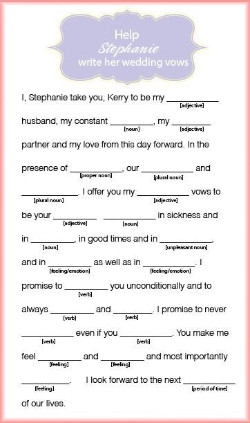 Stephanie Wedding Vow Mad Lib Wedding Games For Guests Bachelorette Party Games Funny Wedding Vows