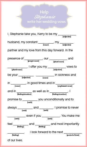 stephanie wedding vow mad lib  Bridal  Wedding Stuff in 2019  Bridal Shower Bridal shower