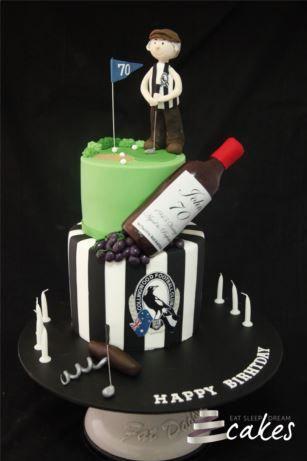 Golfing Wine Lover Collingwood 70th Birthday Cake Eat Sleep
