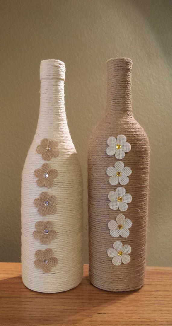 Impresionante hilo envuelto botella de vino por - Botellas de vino decoradas ...