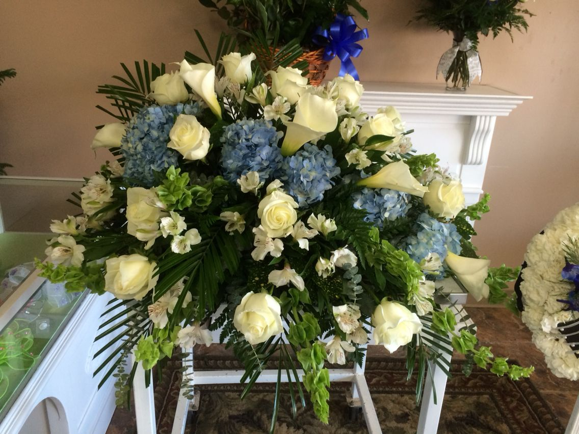 Image Result For Casket Spray With Hydrangeas Roses Calla Lily Funeral Flowers Flower Arrangements Sympathy Flowers