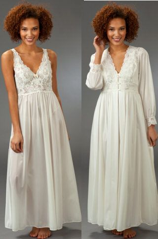 ee0567d27df28 Shadowline Silhouette Long Nightgown Robe Peignoir Set - Ivory in ...