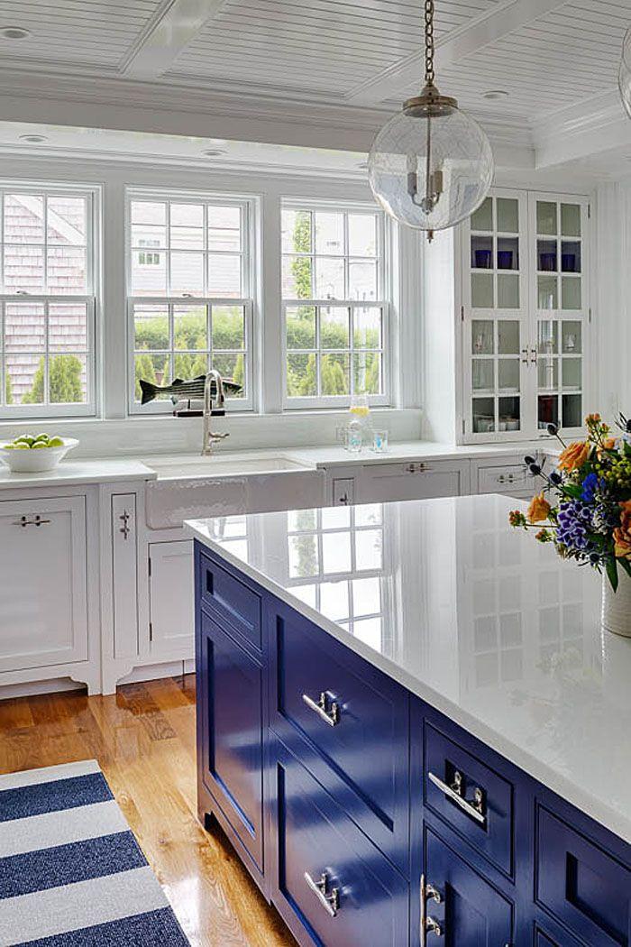 charming traditional coastal cottage on martha s vineyard blue kitchen decor kitchen design on kitchen decor blue id=65280